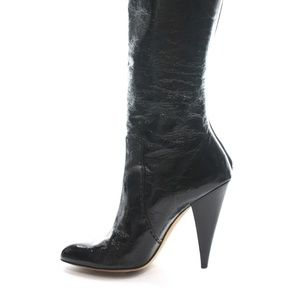 OSCAR DE LA RENTA BLACK PATENT LEATHER BOOTS SZ 8